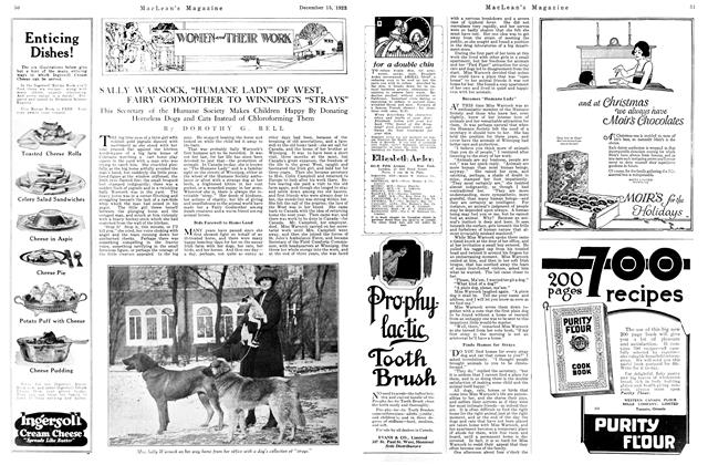 "Article Preview: SALLY WARNOCK, ""HUMANE LADY"" OF WEST, FAIRY GODMOTHER TO WINNIPEG'S ""STRAYS"", December 1923 