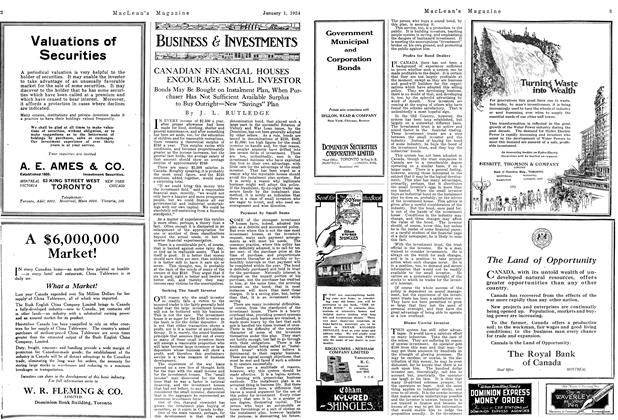 Article Preview: CANADIAN FINANCIAL HOUSES ENCOURAGE SMALL INVESTOR, January 1924 | Maclean's