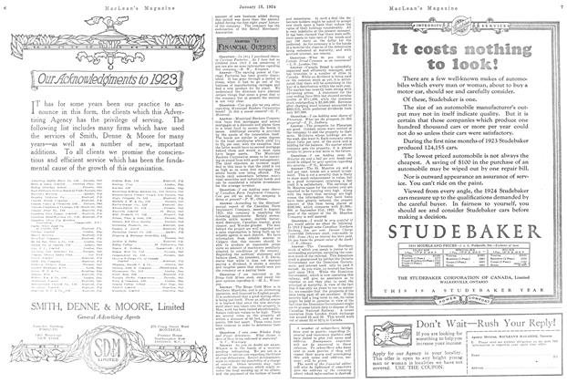 Article Preview: ANSWERS TO FINANCE QUERIES, January 1924   Maclean's