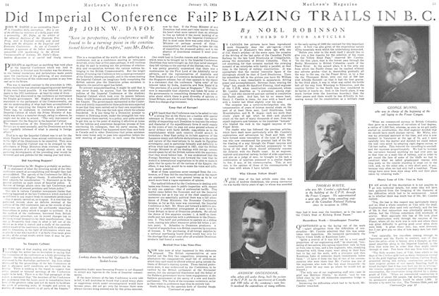 Article Preview: BLAZING TRAILS IN B. C., January 1924 | Maclean's