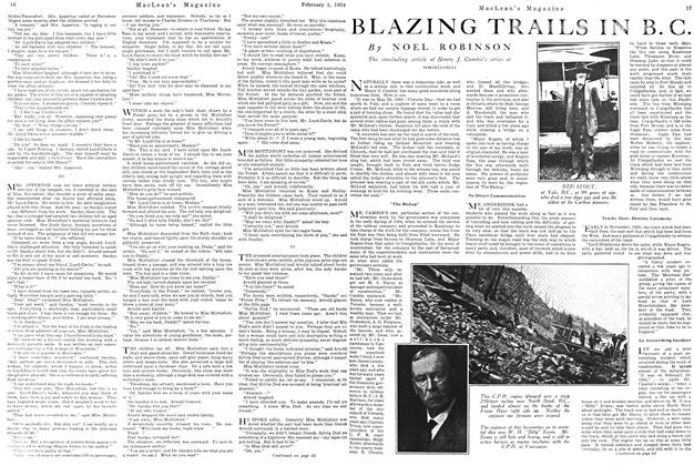 Article Preview: BLAZING TRAILS IN B.C., February 1924 | Maclean's