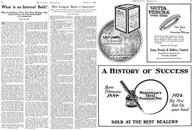 Article Preview: Has League Been a Success?, February 1924 | Maclean's
