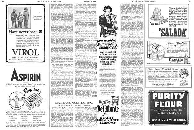 Article Preview: MACLEAN'S QUESTION BOX, February 1924 | Maclean's