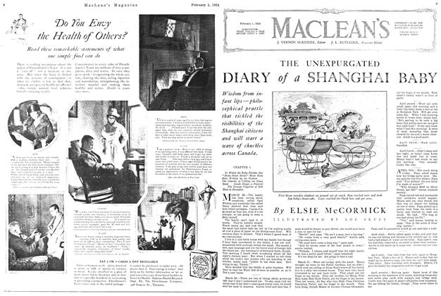 Article Preview: THE UNEXPURGATED DIARY of a SHANGHAI BABY, February 1924 | Maclean's