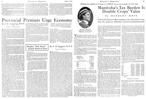 Article Preview: Manitoba's Tax Burden Is Double Crops' Value, April 1924 | Maclean's