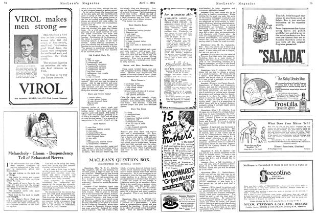Article Preview: MACLEAN'S QUESTION BOX, April 1924 | Maclean's