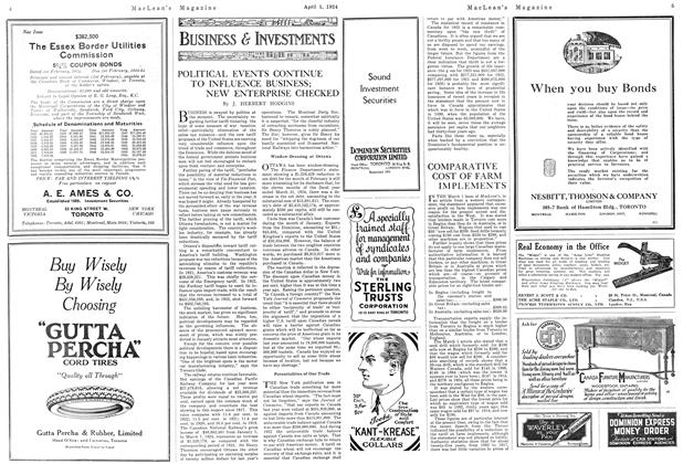Article Preview: POLITICAL EVENTS CONTINUE TO INFLUENCE BUSINESS; NEW ENTERPRISE CHECKED, April 1924 | Maclean's