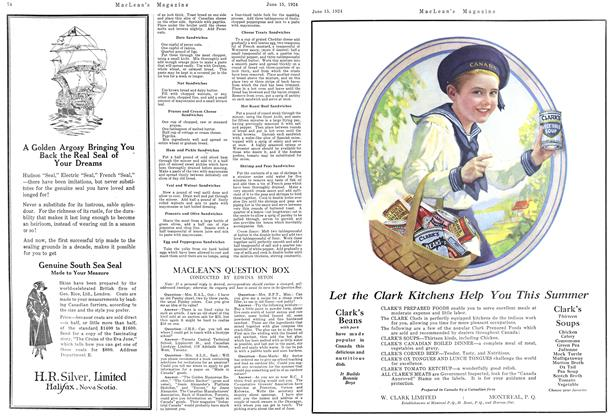 Article Preview: MACLEAN'S QUESTION BOX, June 1924 | Maclean's