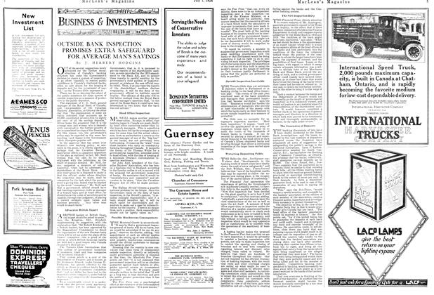 Article Preview: OUTSIDE BANK INSPECTION PROMISES EXTRA SAFEGUARD FOR AVERAGE MAN'S SAVINGS, JULY 1ST 1924 1924 | Maclean's