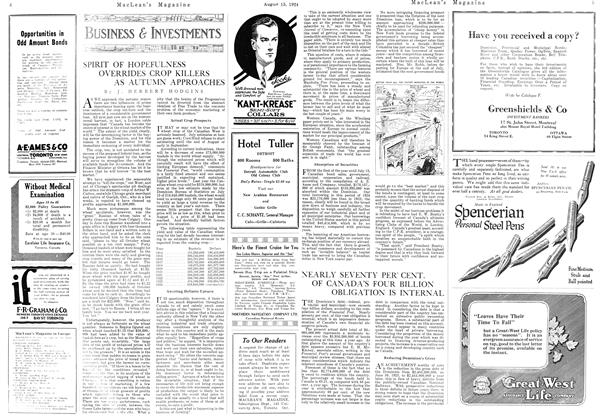 Article Preview: SPIRIT OF HOPEFULNESS OVERRIDES CROP KILLERS AS AUTUMN APPROACHES, August 15th 1924 1924 | Maclean's