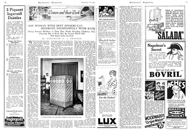 Article Preview: ANY WOMAN WITH DEFT FINGERS CAN DECORATE INEXPENSIVELY WITH BATIK, September 1924 | Maclean's