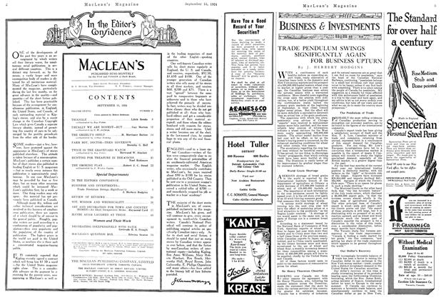 Article Preview: TRADE PENDULUM SWINGS SIGNIFICANTLY AGAIN FOR BUSINESS UPTURN, September 1924 | Maclean's