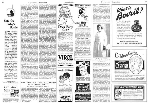 """Article Preview: THE SIGN POST SHE FOLLOWED SAID """"STICK TO IT"""", October 1924   Maclean's"""