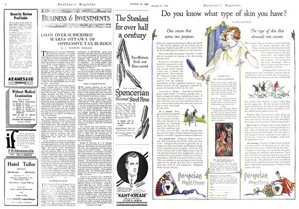 Article Preview: LOAN OVER-SUBSCRIBED WARNS OTTAWA OF OPPRESSIVE TAX BURDEN, October 1924   Maclean's
