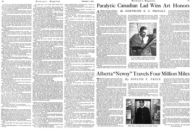 Article Preview: Paralytic Canadian Lad Wins Art Honors, December 1924 | Maclean's