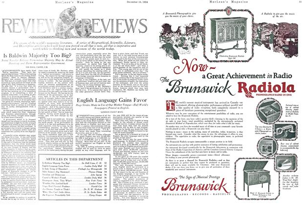 Article Preview: English Language Gains Favor, December 1924   Maclean's