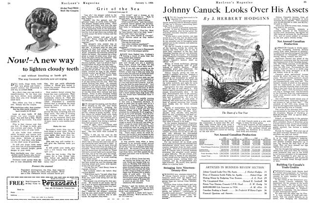 Article Preview: Johnny Canuck Looks Over His Assets, January 1925 | Maclean's