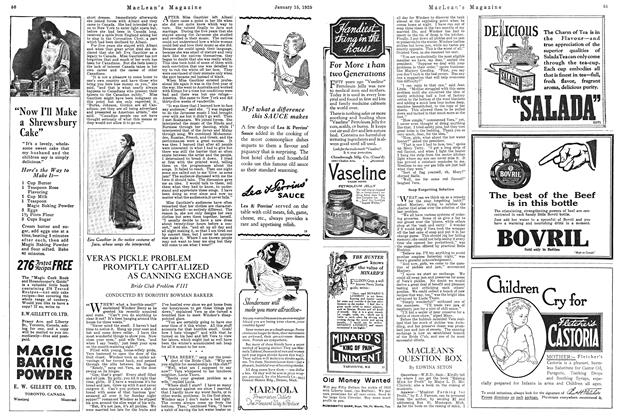 Article Preview: MACLEAN'S QUESTION BOX, January 1925 | Maclean's