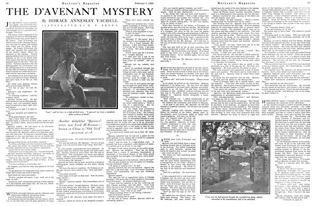 Article Preview: THE D'AVENANT MYSTERY, February 1925 | Maclean's