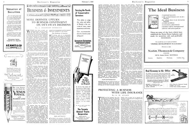 Article Preview: PROTECTING A BUSINESS WITH LIFE INSURANCE, February 1925   Maclean's