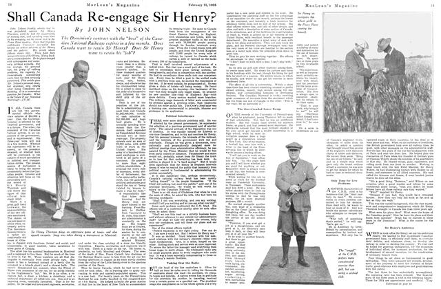 Article Preview: Shall Canada Re-engage Sir Henry?, February 1925 | Maclean's