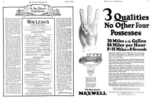 Article Preview: In the Editor's Confidence, March 1925   Maclean's