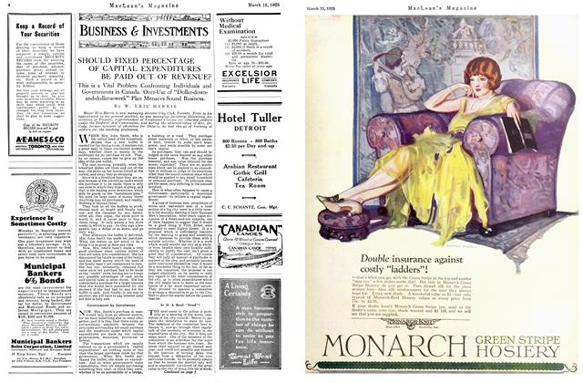 Article Preview: SHOULD FIXED PERCENTAGE OF CAPITAL EXPENDITURES BE PAID OUT OF REVENUE?, March 1925 | Maclean's