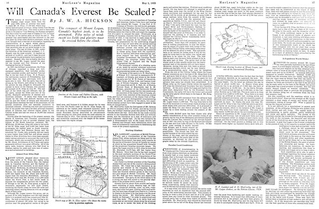 Article Preview: Will Canada's Everest Be Scaled?, May 1925 | Maclean's