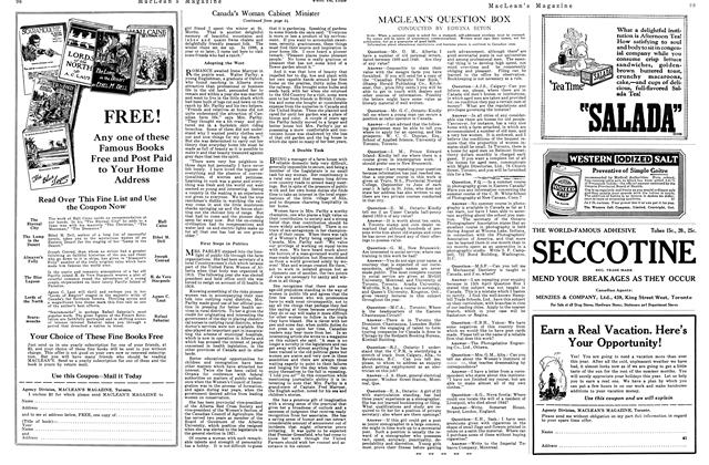 Article Preview: MACLEAN'S QUESTION BOX, June 1925 | Maclean's