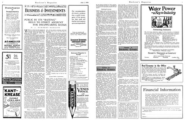 "Article Preview: PUBLIC BY ITS ""BAITING"" HELD TO STRICT ACCOUNT FOR DISAPPEARING BANKS, July 1925 