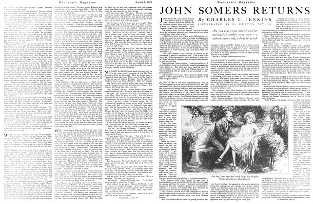 Article Preview: JOHN SOMERS RETURNS, August 1925 | Maclean's