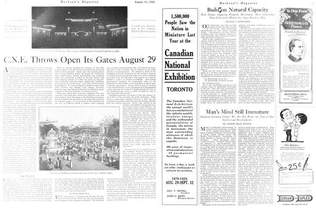 Article Preview: C.N.E. Throws Open Its Gates August 29, August 1925 | Maclean's