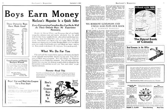 Article Preview: WE BORROW $2,545,000,000 AND UNCLE SAM PATS OUR BACK, September 1925 | Maclean's