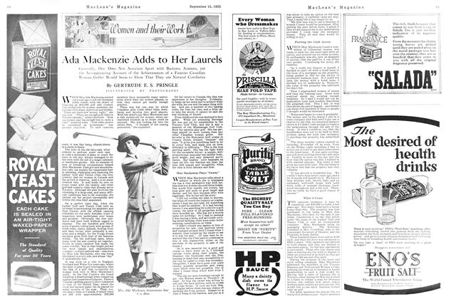 Article Preview: Ada Mackenzie Adds to Her Laurels, September 1925 | Maclean's