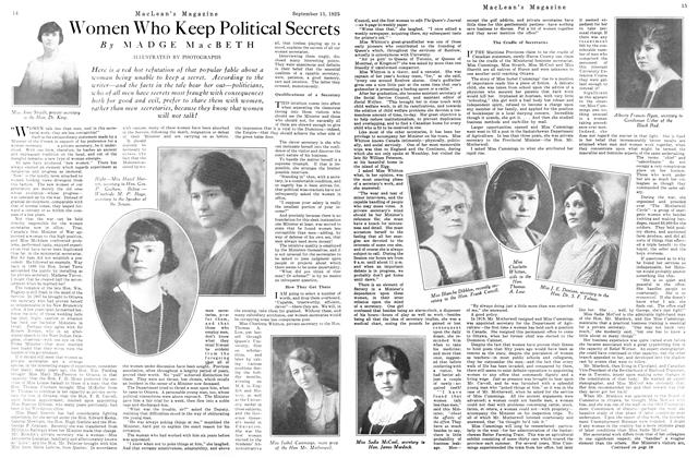 Article Preview: Women Who Keep Political Secrets, September 1925 | Maclean's