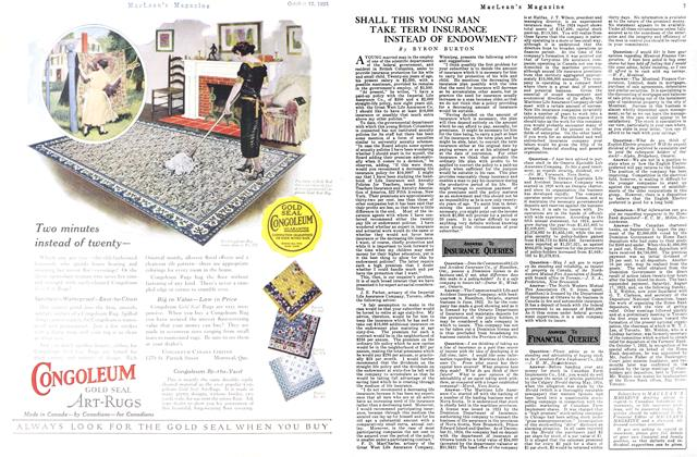 Article Preview: SHALL THIS YOUNG MAN TAKE TERM INSURANCE INSTEAD OF ENDOWMENT?, October 15th 1925 1925 | Maclean's