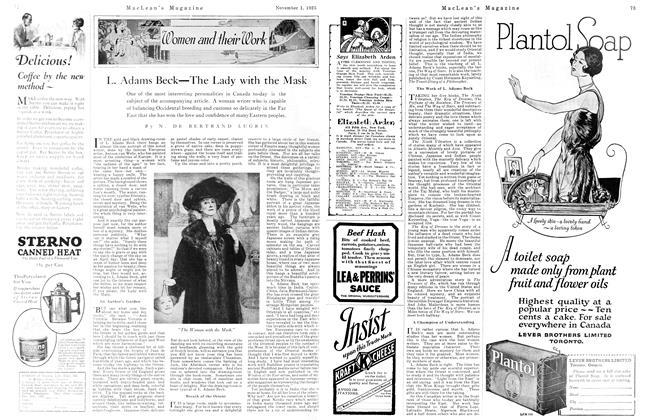 Article Preview: L. Adams Beck—The Lady with the Mask, November 1925 | Maclean's