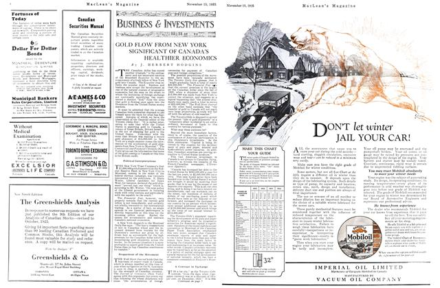 Article Preview: GOLD FLOW FROM NEW YORK SIGNIFICANT OF CANADA'S HEALTHIER ECONOMICS, November 15TH 1925 1925 | Maclean's