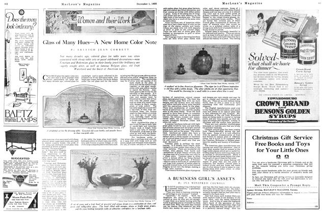 Article Preview: Glass of Many Hues—A New Home Color Note, December 1925 | Maclean's