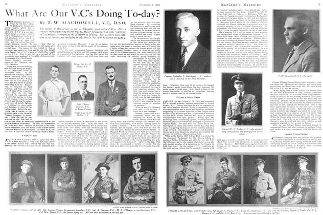 Article Preview: What Are Our V.C's Doing To-day?, December 1925 | Maclean's