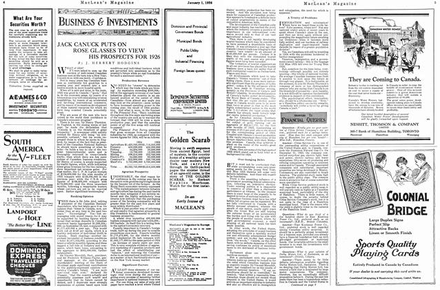 Article Preview: JAJACK CANUK PUTS ON ROSE GLASSES TO VIEW HIS PROSPECTS FOR 1926, January 1926   Maclean's