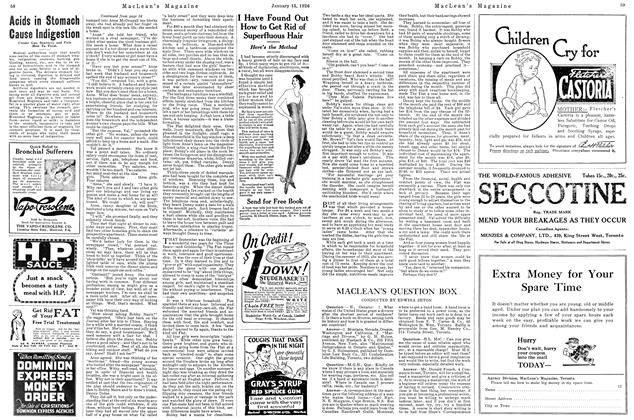 Article Preview: MACLEAN'S QUESTION BOX ., January 1926 | Maclean's