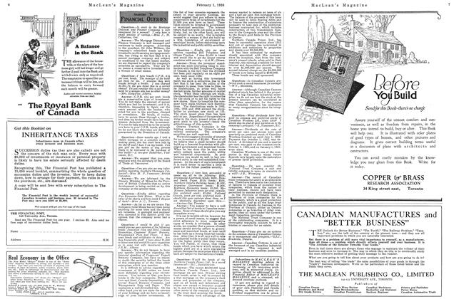 Article Preview: ANSWER TO FINANCIAL QUERIES, February 1926 | Maclean's