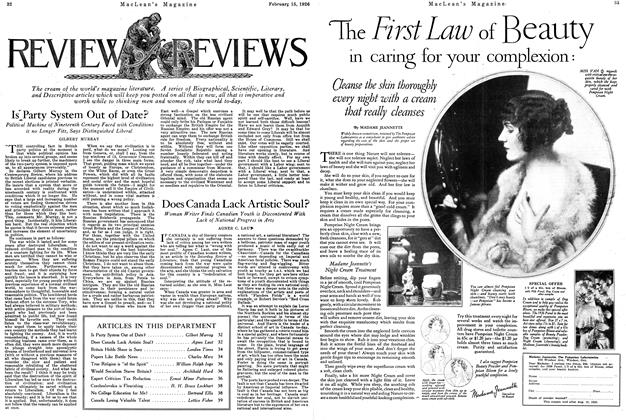 Article Preview: Does Canada Lack Artistic Soul?, February 1926 | Maclean's