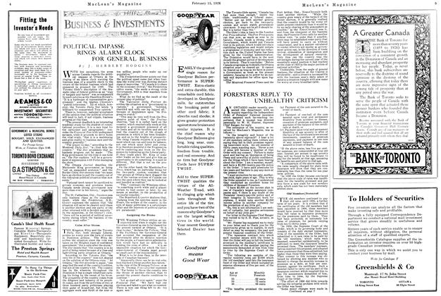Article Preview: POLITICAL IMPASSE RINGS ALARM CLOCK FOR GENERAL BUSINESS, February 1926 | Maclean's