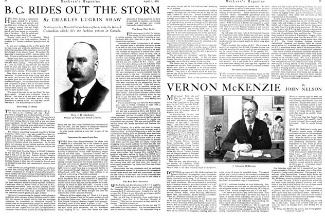 Article Preview: B.C. RIDES OUT THE STORM, April 1926 | Maclean's