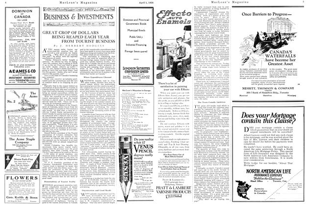 Article Preview: GREAT CROP OF DOLLARS BEING REAPED EACH YEAR FROM TOURIST BUSINESS, April 1926 | Maclean's