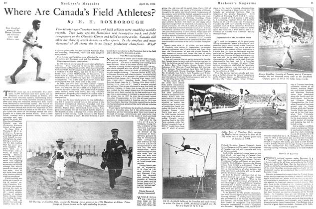 Article Preview: Where Are Canada's Field Athletes?, April 1926 | Maclean's