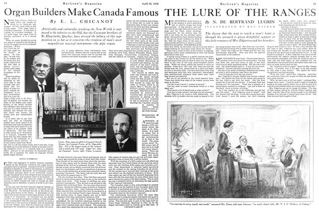 Article Preview: Organ Builders Make Canada Famous, April 1926 | Maclean's