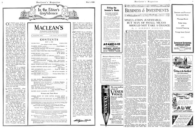 Article Preview: SPECULATION JUSTIFIABLE, BUT MAN OF SMALL MEANS SHOULD NOT TAKE A CHANCE, May 1926 | Maclean's